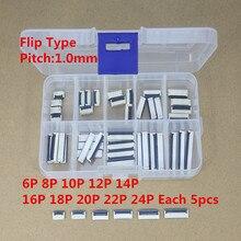 50 pçs/caixa passo de 1mm sob os jogos lisos do conector 4 p 6 p 8 p 10 p 12 p 14 p 16 p 20 p 22 p do cabo do soquete fpc ffc da garra