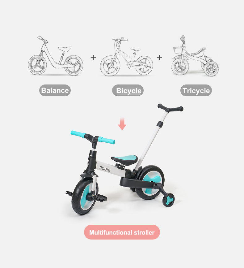 Child Bicycle 5-in-1 Baby Stroller Children Folding Scooter Toddler Balance Bike Adjustable Tricycle Multifunctional Infant Cart