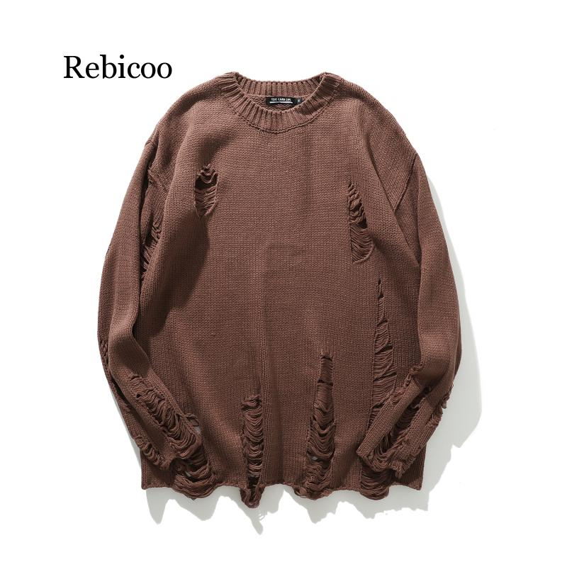 Striped Hole Knit Sweaters Autumn Winter Sweater Fashion Long Paragraph Oversized Jumpers Men Women All-match Clothing