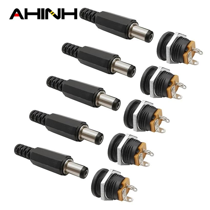 12v3a 5,5x2,1mm tapones macho de plástico dc022 dc toma de corriente hembra tornillo tuerca conector de montagem do painel 5,5*2,1