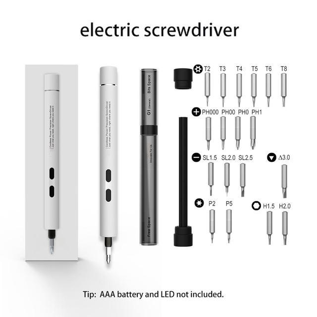 Chave de fenda magnética elétrica sem fio, portátil, profissional, broca, set para pequenos dispositivos, reparo