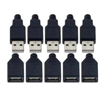 10 шт. Тип A входящий штекер муфтовый стыковочный USB 4 Pin разъем с черной Пластик крышка Тип-который нужно собрать своими руками Наборы