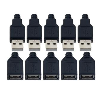 10 szt Typ A męski żeński USB 4 wtyk pinowy złącze wtykowe z czarną plastikowa obudowa typ-a zestawy diy tanie i dobre opinie Male Female