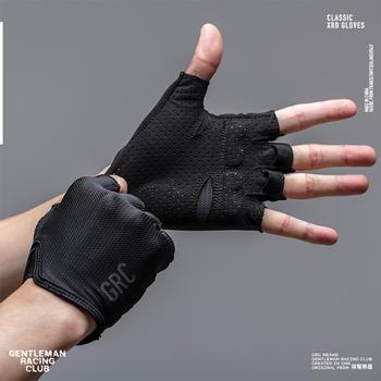 Rękawiczki rowerowe Half Finger męskie damskie letnie sportowe odporne na wstrząsy rękawiczki sportowe MTB Bike rękawica rowerowa Guantes Ciclismo tanie i dobre opinie Pół palca Jazda na rowerze Uniwersalny GRC01 Zmywalna MTB Cycling Gloves Synthetic leather Mesh fabric M L XL Black and White