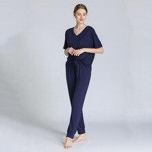 Hülse V ausschnitt Pyjamas Weibliche Modale Kurzen ärmeln Hosen Zwei stück Lose Große Größe Hause Kleidung Dünne Pyjamas Frauen lenceria