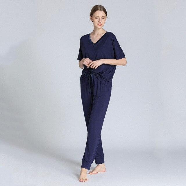 スリーブvネックパジャマ女性モーダル半袖ズボンツーピースルース大型ホーム服薄型パジャマ女性lenceria