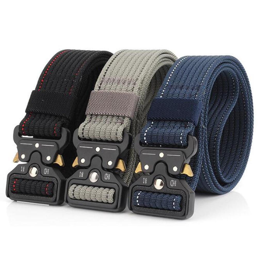 Men Belt Nylon Tactical Army Belts For Trousers Metal Buckle Canvas Belts Outdoor Male Training Black Military Waist Belt D35