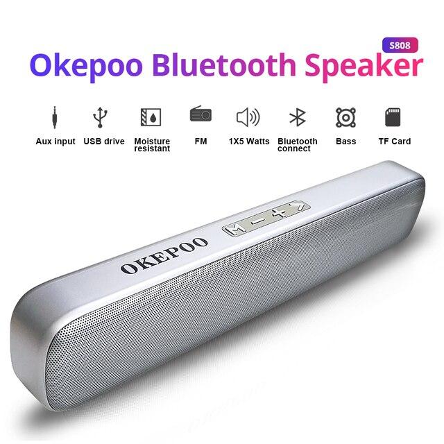 Okepoo Bluetooth Di Động S808 Hỗ Trợ Micro Thẻ TF FM AUX 2000MAh Pin HIFI Stereo Không Dây Bluetooth