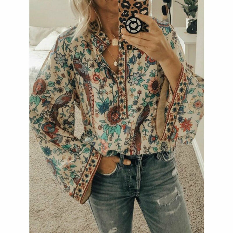 New Women Boho Lantern Long Sleeve V-Neck Loose Tops Foral Print Ladies Hippie Gypsy Tunic   Blouse     Shirt