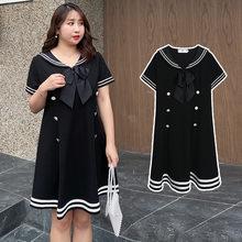 Plus Size Navy Collar Dress Short Sleeve Maid Party Large Size Lolita Prom Dresses Black Gothic Clothing Harajuku Outfits Women