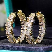 Huitan Brilliant Pear-shaped CZ Hoop Earrings for Women Crystal Cubic Zircon Stylish Female Accessories Versatile Trendy Jewelry