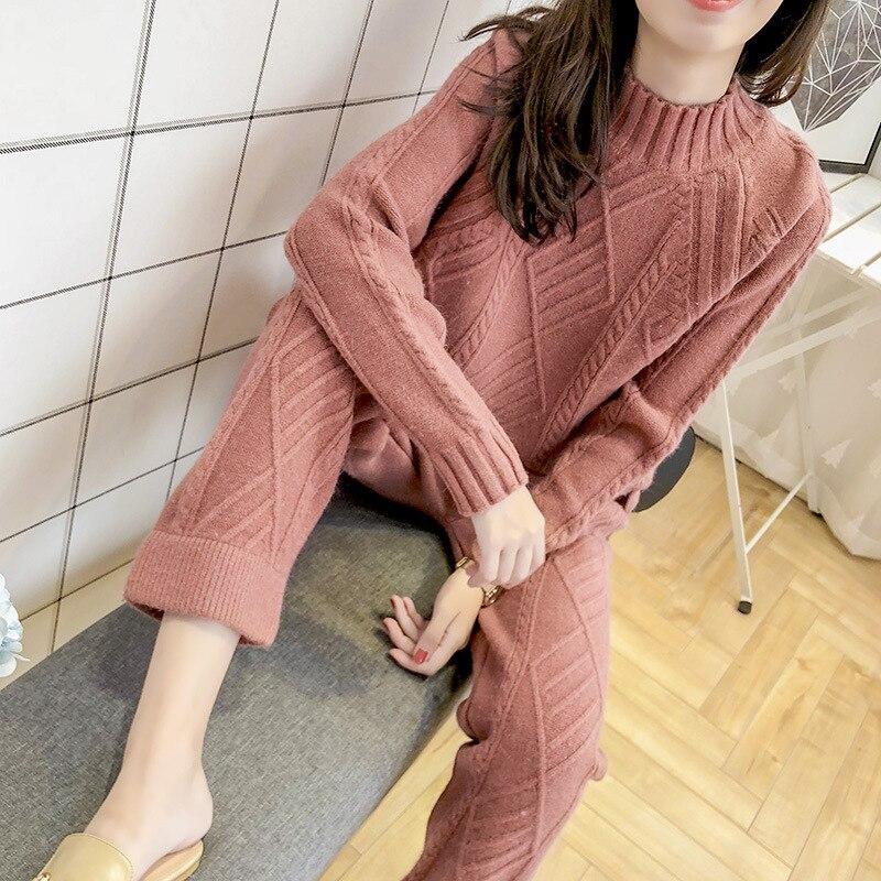 Women Two Piece Outfits 2020 Autumn New Fashion Temperament Commuter Suit Thick Sweater Pants Women Retro Knit Elegant 2 Sets