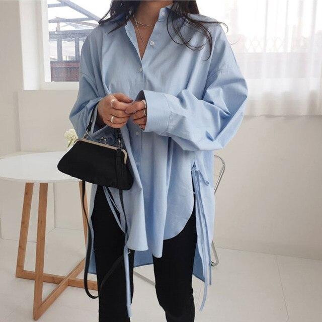Spring  Sweet Turn-down Collar Womens Tops And Blouses Long Sleeve  Sweet Side Split Plus Size Ladies Shirt 1
