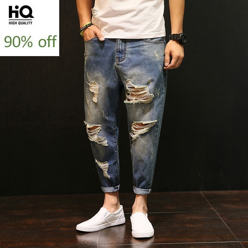 Summer Hole Casual Jeans Men 2020 Loose Thin Ankle Length Beggar Pants Plus Size College Cowboy Trousers Hombre Brand Clothing