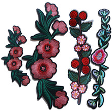 Rose with Leaves Flower Embroidered Iron on Patches for Clothing DIY Stripes Clothes Patchwork Sticker Cus flower patchwork ceramic tile sticker 5pcs