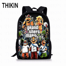 THIKIN Super Mario GTA Kids School Bag Grand Theft Auto Print Student School Backpack Popular Game Girls Boys School Book Bags dispalang popular 16 inch children school backpack ballet dancing shoes prints customized school bag elementary student book bag