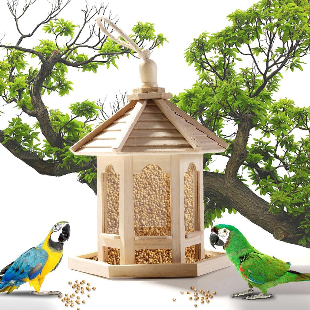 Alimentador de pássaros de madeira decoração do jardim pássaro selvagem alimentação dispensador casa pássaro com telhado casa jardim quintal decoração|Alimentação de aves|   -