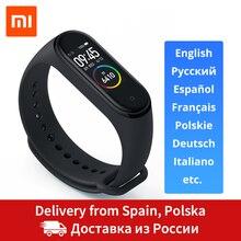 Из России Xiaomi Mi Band 4 фитнес браслет 0,95 дюймов AMOLED 120X240 полноцветный экран Bluetooth 5,0 браслет 50 м Водонепроницаемый