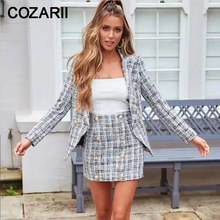 Two piece set women vintage jacket sets 2019 winter fashion ladies tweed skirt suit sweet girls chic coat female blazer