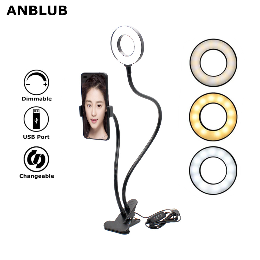 LED Selfie Ring Light USB Port With Phone Holder Stand For Live Stream/Makeup Camera Flexible 3-Light Modes 10-Level Brightness