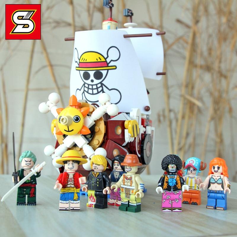 Sy6299 uma peça mil macaco ensolarado d luffy/usopp/roronoa zoro piratas regimento blocos de construção brinquedos compatíveis com bela