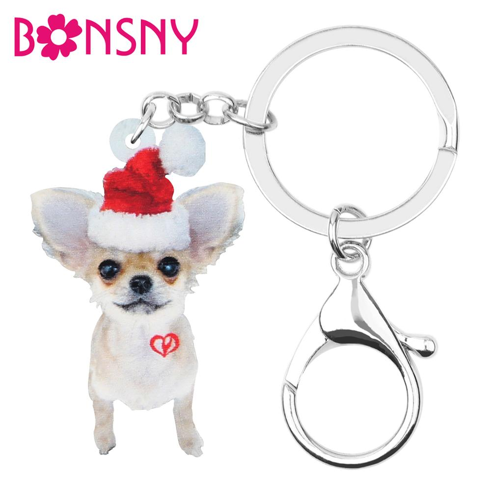 Bonsny Acrylic Sweet Christmas Hat Chihuahua Dog Key Chain Key Rings Bag Car Purse Keychain For Women Girl Decoration Charm Gift