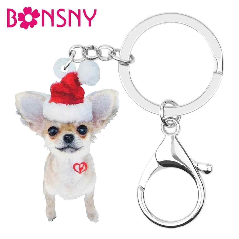 Bonsny アクリル甘いクリスマス帽子チワワ犬キーチェーンキーリングバッグ車の財布キーホルダー女性ガール装飾チャームギフト