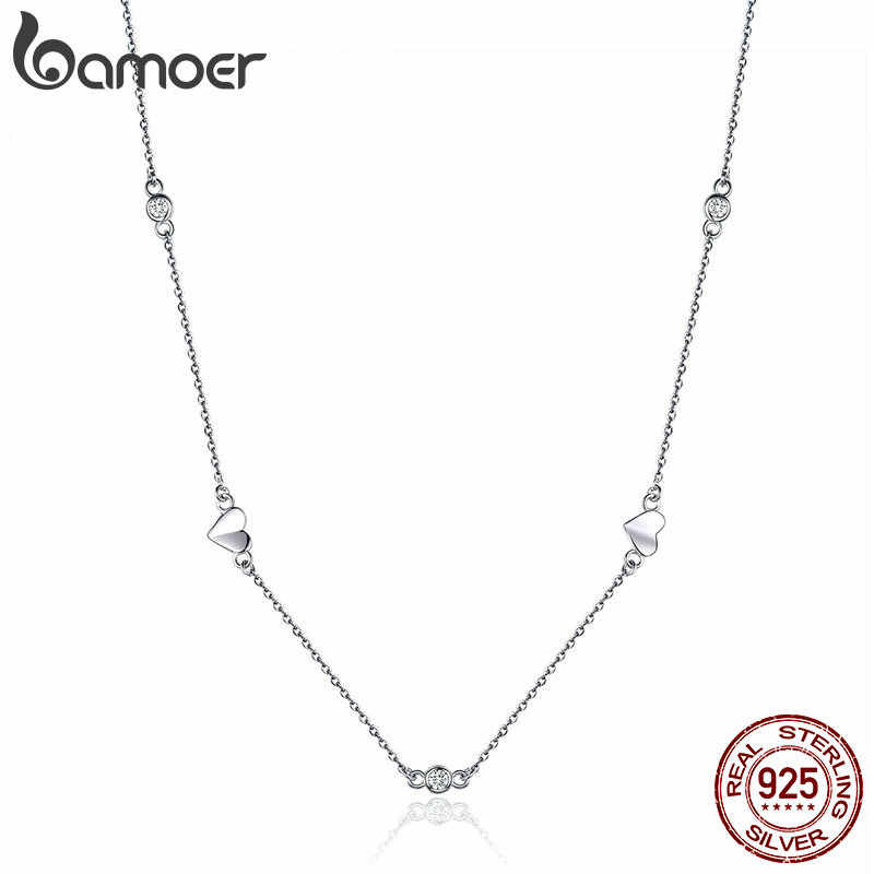 BAMOER Silver Necklace Chain Floding Heart Link 925 Sterling Silver Choker Necklaces for Women Short Colliers 45mm BSN047
