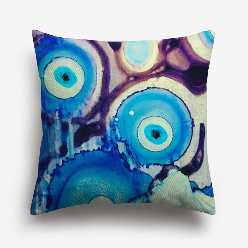 Watercolor Painting Evil Eye Cushion Covers Muslim Islam Hamsa Hand Cushion Cover Decorative Linen Pillow Case New