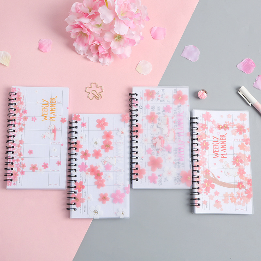 1 Pcs Cherry Planner Notebook Portable Agenda Organizer Schedule Diary Weekly Monthly School Office Stationary Supplies