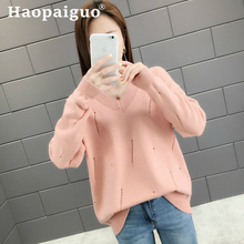 2019 Autumn Sweater Women Hollow Hole Knitted Winter and Pink Pullover Female Tricot Jersey Jumper Pull Femme
