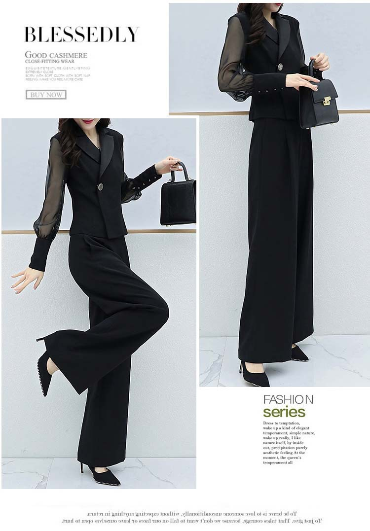 Hdb676c27282041c08887b7f7b8165723m - Autumn Black Office Two Piece Sets Outfits Women Plus Size Long Sleeve Tops And Wide Leg Pants Korean Elegant Matching Suit