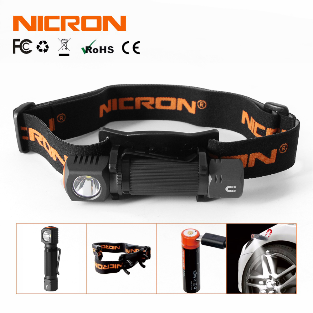 NICRON Mini Rechargeable LED Headlamp 450Lm 90M Long Beam Waterproof IP65 Flashlight Headlight Torch Lamp For Camping H10R-Pro
