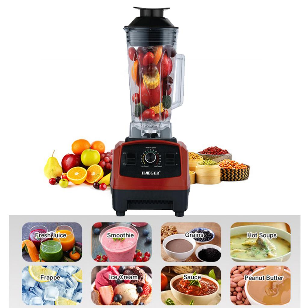 EU Plug BPA FREE 1500W Heavy Duty Commercial Blender Juicer Ice Smoothie Professional Processor Mixer