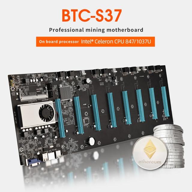 BTC D37 التعدين اللوحة 8 GPU PCI E 16X فتحات DDR3 اللوحة مع USB 2.0 SATA 3.0 منافذ الكمبيوتر أجزاء