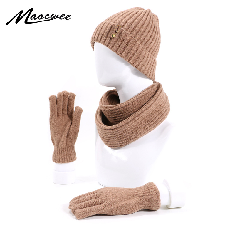 New Winter Knitting Skullies Beanies Hat Scarf Gloves Set For Men Woman Solid Color Warm Cap Outdoor Thick Scarf Gloves Caps Set