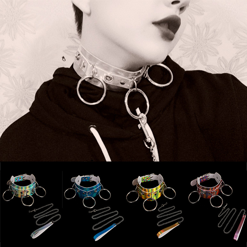 <font><b>men</b></font> and women Exaggerated <font><b>sexy</b></font> rivet laser leather collar O Necklace collar clavicle chain Fashion street punk trinket image