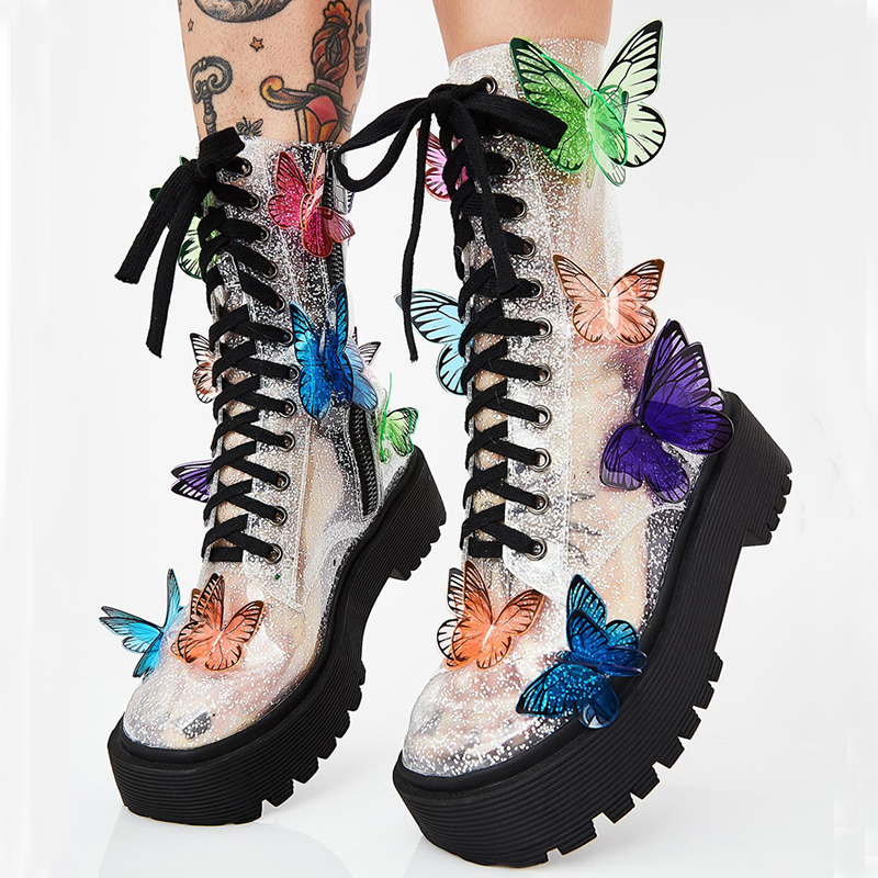 Butterfly Appliques Cross-tied Boots Woman Transparent clear PVC Thick Bottom Platform Colour Mixture Wing Shoes Short boots