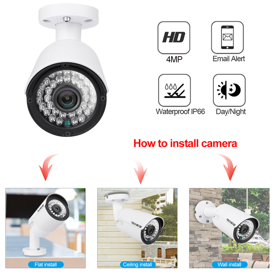 Image 2 - Techege H.265 8CH POE System 4.0MP Audio IP Camera Metal Outdoor Waterproof Network Camera CCTV Security System Surveillance Kit-in Surveillance System from Security & Protection