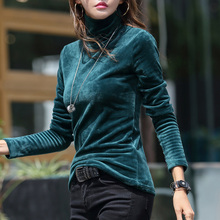 2019 autumn and winter models Korean version of thick warm and velvet bottoming shirt women Turtleneck  Solid  Full