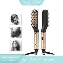 ANLAN peine cepillo de pelo para hombre, plancha de barba multifuncional, peine alisador de pelo, rizador de pelo, barba rápida
