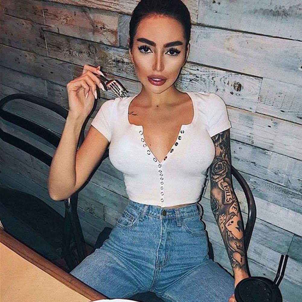 2018 ファッションセクシーな女性半袖クロップトップボタンベストホルターカジュアル白タンクブラウス Shirt40 Shein Tシャツ Vadim befree 40