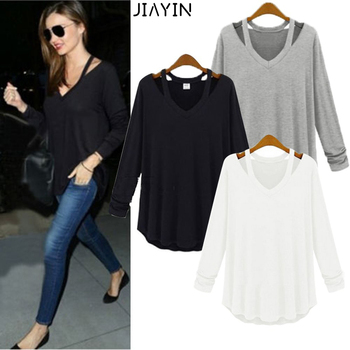 2020 New Pattern Sexy Women Solid Long Sleeve Off Shoulder Casual Slim Fit Tops Shirt Fashion Blouse 1