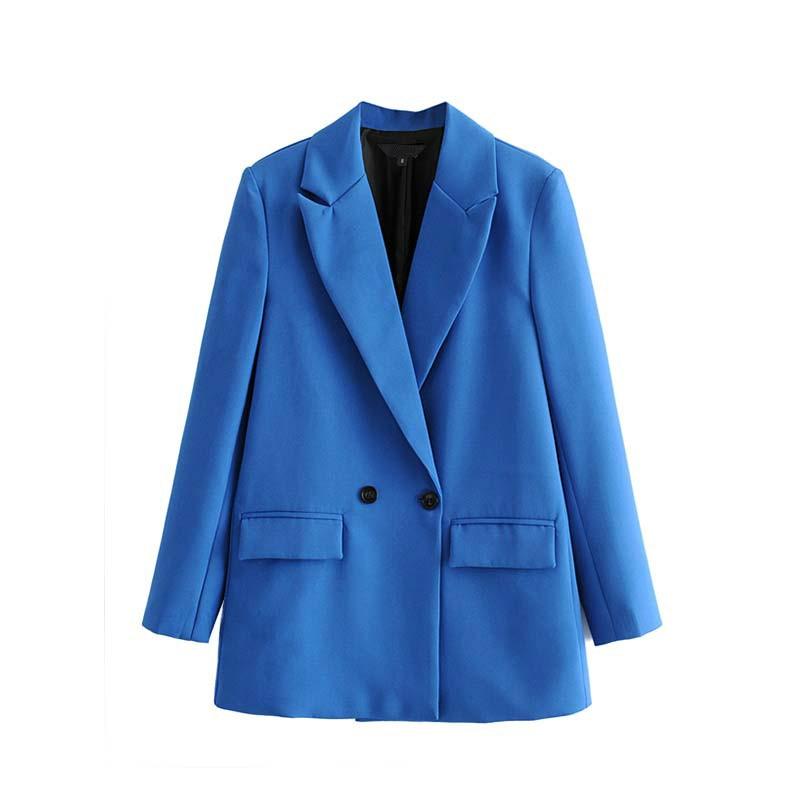 Women Coat for Autumn Winter Blazer Feminino Elegant Solid Notched Collar Long Sleeve Womens Blazers Pockets Office Wear Formal