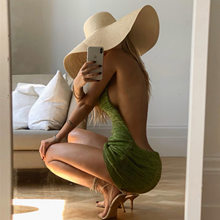 Women Halter Backless Dress 2021 Summer Hollow Out Sleeveless Knitted Dress Sexy Club Bodycon Mini Party Dresses Beach Wear Hot