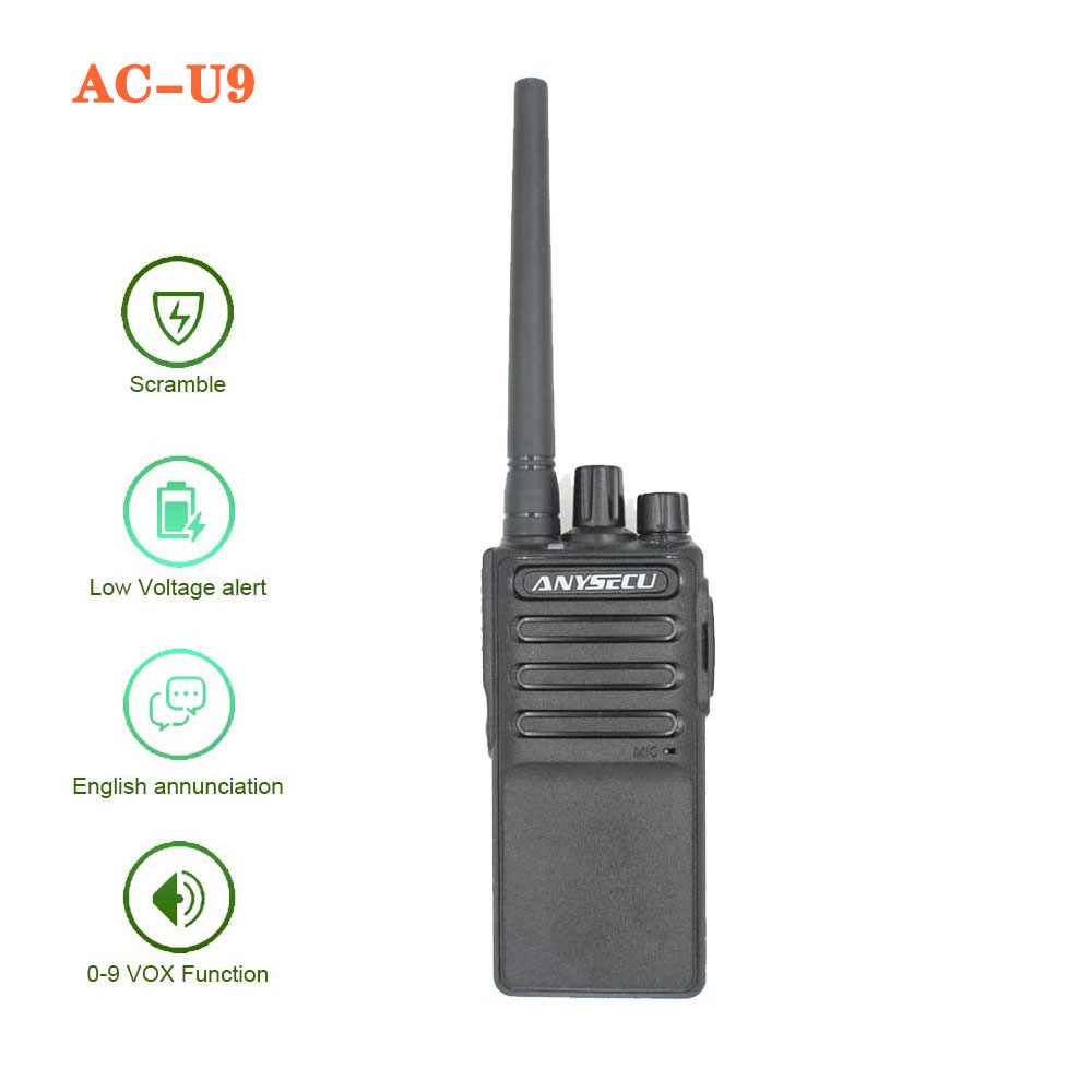 Two Way Inter-phone Long Distance Walkie Talkie ANYSECU AC-U9 UHF 400-470 Wireless Intercom Analog 16CH Scrambler Two Way Radio