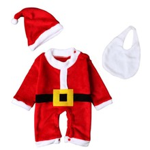 TBaby Clothes Boys Girls Christmas Long Sleeve Cute Santa Claus Jumpsuit Hat Bib Bodysuit Set new baby boys girls clothes bodysuit cute child animals jumpsuit hat cap clothing outfits 2pcs set