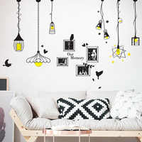 [shijuekongjian] Black Color Droplight Wall Sticker Light Picture Frame Stickers for House Living Room Decoration Hogar