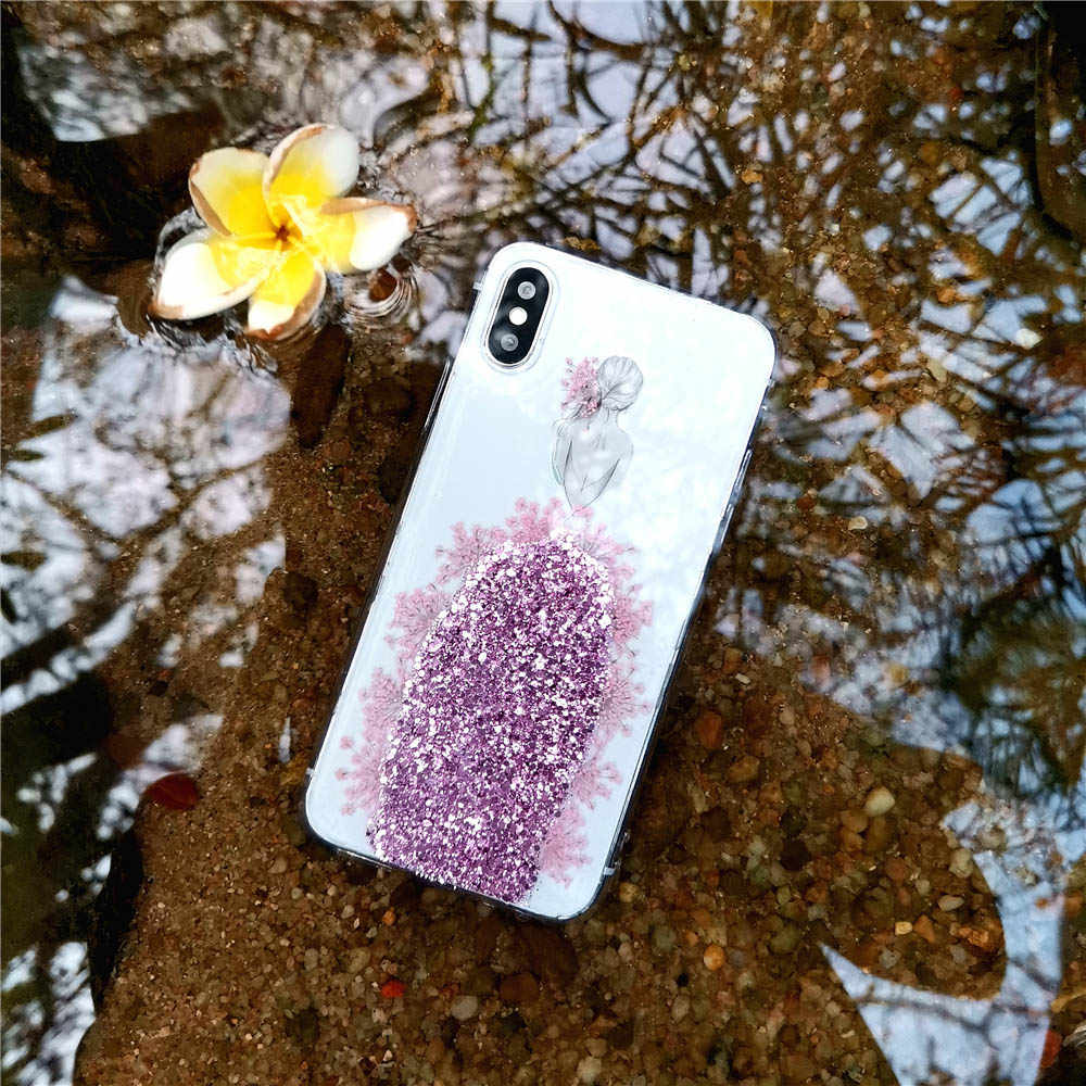 מיובש אמיתי פרח בעבודת יד ברור חתונה שמלת ילדה מקרי טלפון עבור iPhone 6 6S 7 8 בתוספת X XS max XR מקרה רך TPU חזרה כיסוי