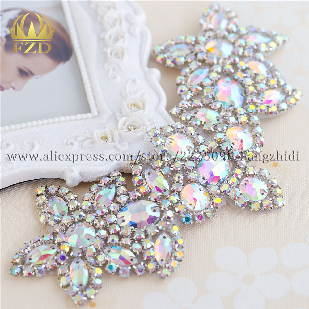 2PCS Handmade Bling Sew On Beaded Crystal AB Rhinestone Applique for Wedding